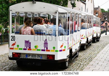 Strasbourg France - july 22 2016 : touristy train in the picturesque city center in summer