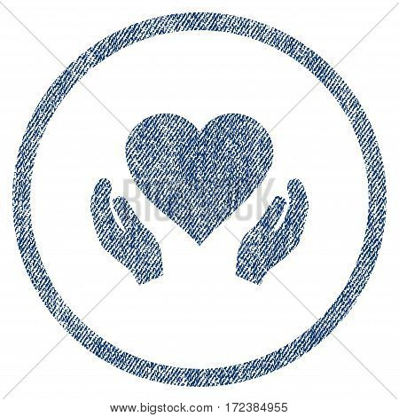 Love Care Hands textured icon for overlay watermark stamps. Blue jeans fabric vectorized texture. Rounded flat vector symbol with dust design.