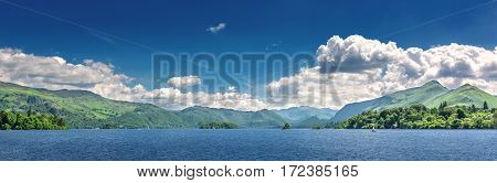 View over the lake at Keswick in north gland with mountains in the background.