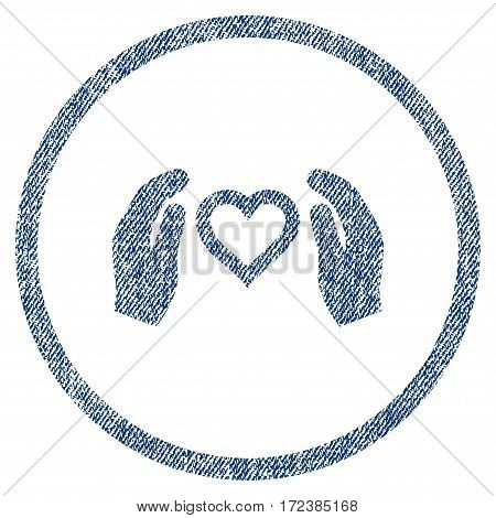 Love Care Hands textured icon for overlay watermark stamps. Blue jeans fabric vectorized texture. Rounded flat vector symbol with dirty design.