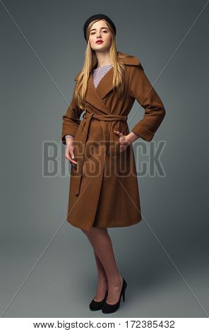 Spring French Look. Gir In Coat And Beret. Chic And Business Style