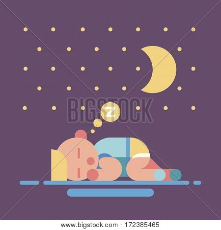 Cute sleeping baby card. Small dreaming child sleep under the moon and stars. Poster or gift card. Geometry flat vector illustration.