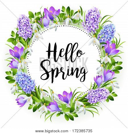 Inscription Hello Spring on background with spring flowers. Vector illustration.