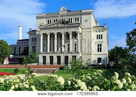 Latvian National Opera in summer. Riga, Latvia
