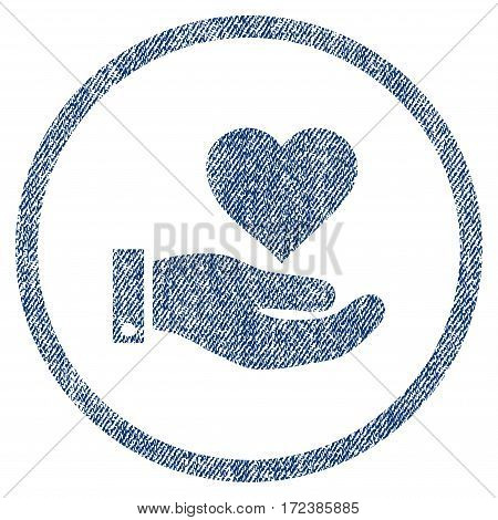 Love Heart Offer Hand textured icon for overlay watermark stamps. Blue jeans fabric vectorized texture. Rounded flat vector symbol with unclean design.