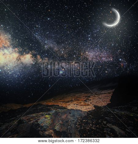 mountain. backgrounds night sky with stars and moon.  Elements of this image furnished by NASA