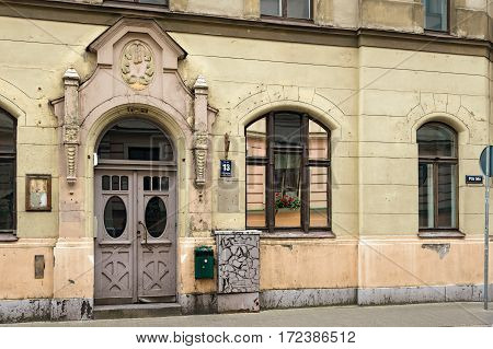RIGA/ LATVIA - JULY 26, 2015. Door of the old apartment building in art Nouveau style in Riga, Latvia.