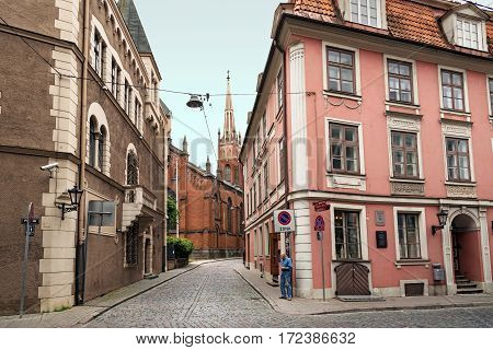 RIGA/ LATVIA - JULY 26, 2015. Old buildings at the intersection of streets Pils and Anglikanu. Riga, Latvia.