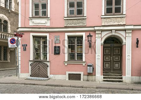 RIGA/ LATVIA - JULY 26, 2015: Old residential house in the classicism style. Riga, Latvia.