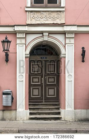 RIGA/ LATVIA - JULY 26. Details of the old residential house built in 1780 by Christoph Haberland in the style of classicism on July 26, 2015. Riga, Latvia