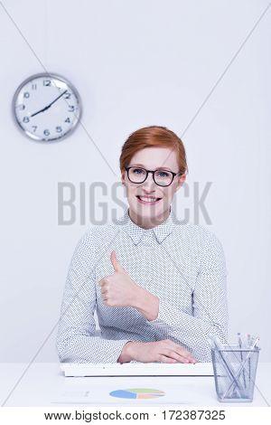 Satisfied Woman During Work