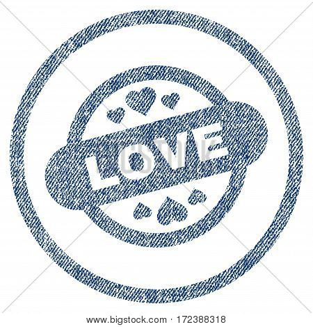 Love Stamp Seal textured icon for overlay watermark stamps. Blue jeans fabric vectorized texture. Rounded flat vector symbol with scratched design.