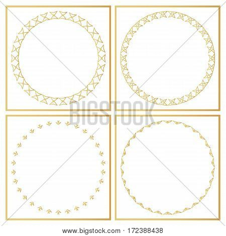 Golden Decorative Frames Set. Vector Design Templates. Creative Intricate Borders.