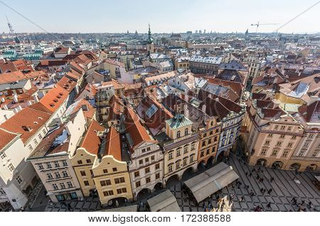 Panoramic View Of Prague From Town Hall Tower