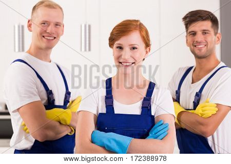 Satisfied Team Of Cleaners