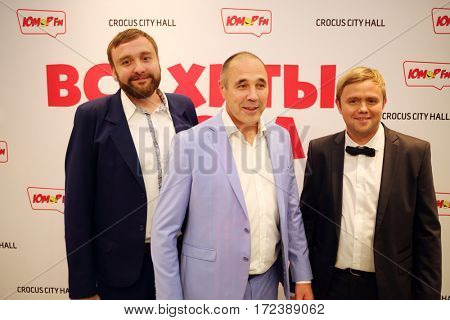 MOSCOW - OCT 9, 2016: Ural dumplings team at All hits of Humor concert in Crocus City Hall