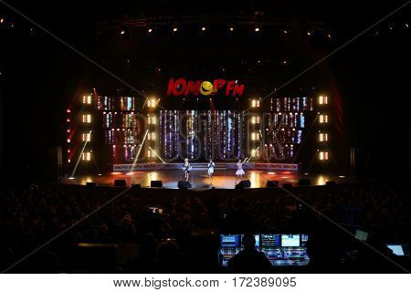 MOSCOW - OCT 9, 2016: Women dance on stage at All hits of Humor concert in Crocus City Hall