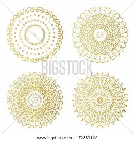 Golden Round Decorative Frames Set. Vector Luxury Design Templates. Creative Circular Patterns.