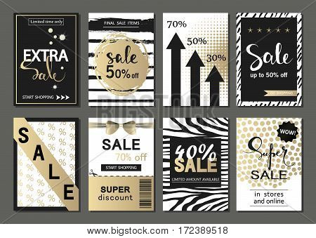 Big Set of social media sale website and mobile banner templates. Vector banners, posters, flyers, email, newsletter, ads, promotional material. Typography discount card design.