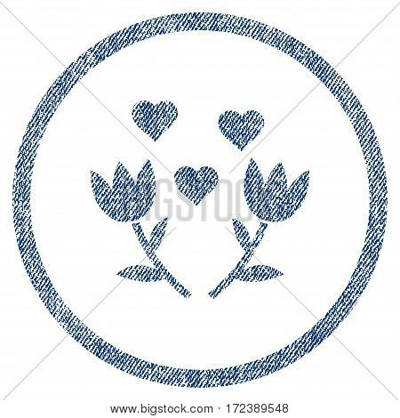 Lovely Tulip Flowers textured icon for overlay watermark stamps. Blue jeans fabric vectorized texture. Rounded flat vector symbol with scratched design.
