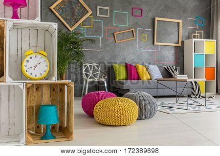 Wooden Boxes In Colorful Room