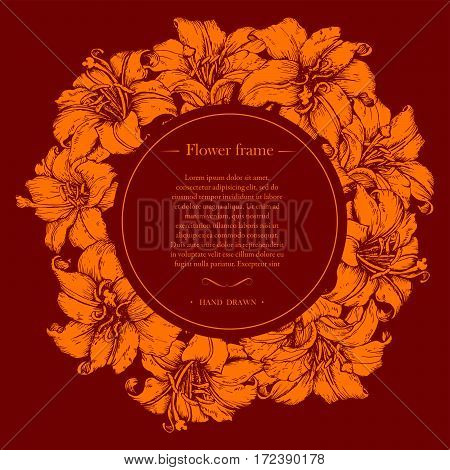 Hand drawn banner with round frame and place for your text. Flower frame.
