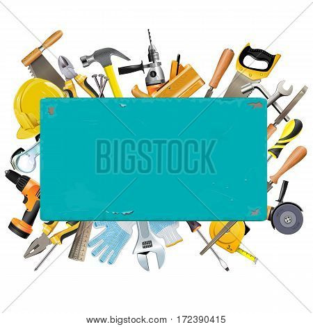 Vector Rusty Frame with Instruments isolated on white background