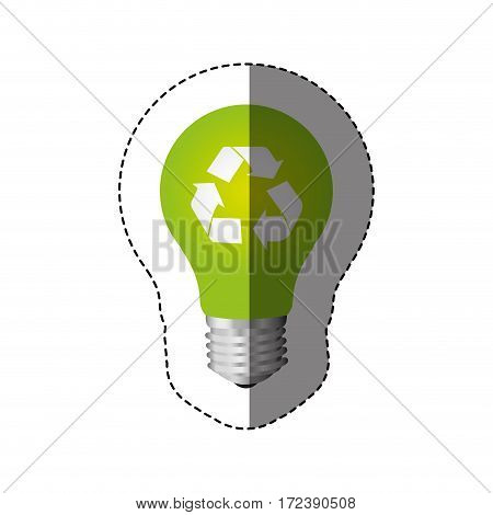 color sticker with silhouette light bulb with recycling symbol vector illustration