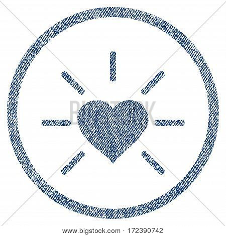 Shiny Love Heart textured icon for overlay watermark stamps. Blue jeans fabric vectorized texture. Rounded flat vector symbol with scratched design.