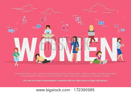 Women sitting with laptop and smart phone on big letters and learning, working or typing in networks. Flat illustration of female people work or relax using computer with social media symbols around