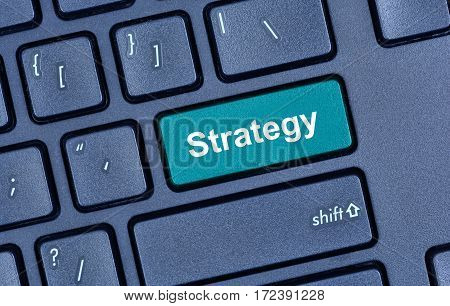 Strategy word on computer keyboard button closeup