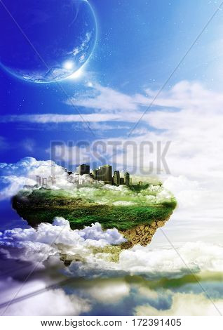 City on a piece of land floating in the sky among the clouds
