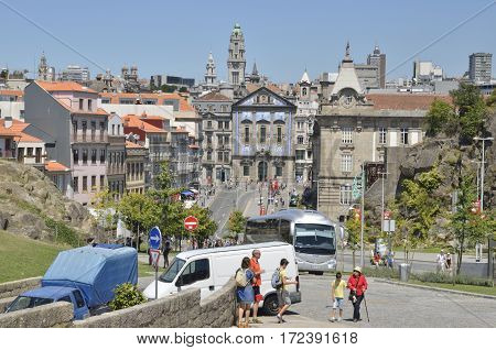 PORTO, PORTUGAL - AUGUST 5, 2015: Avenue Afonso Henriques in Porto Portugal