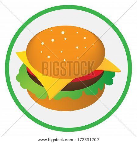 Cheeseburger. Icon for fast food. Bun , cheese, Burger salad  Vector illustration