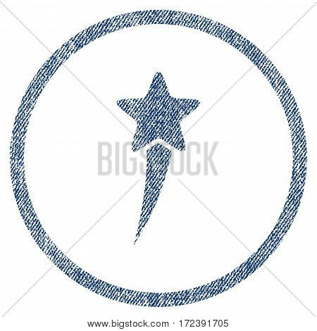 Starting Star textured icon for overlay watermark stamps. Blue jeans fabric vectorized texture. Rounded flat vector symbol with dirty design.