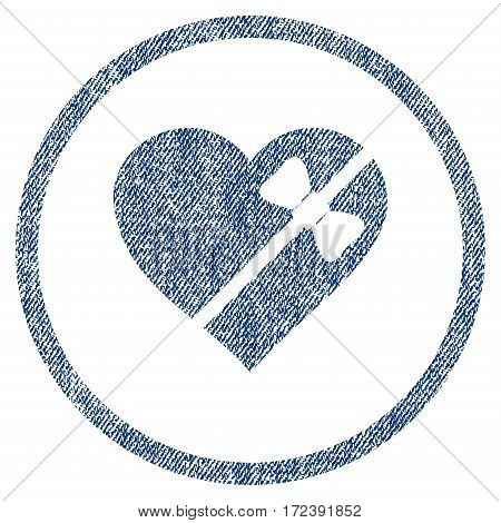 Tied Love Heart textured icon for overlay watermark stamps. Blue jeans fabric vectorized texture. Rounded flat vector symbol with scratched design.