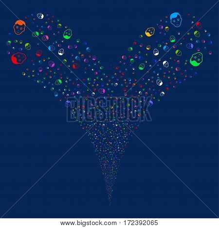 Face fireworks stream. Vector illustration style is flat bright multicolored iconic symbols on a blue background. Object double fountain constructed from random design elements.