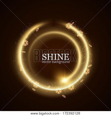 Shining round frame with particles trail vector background. EPS10