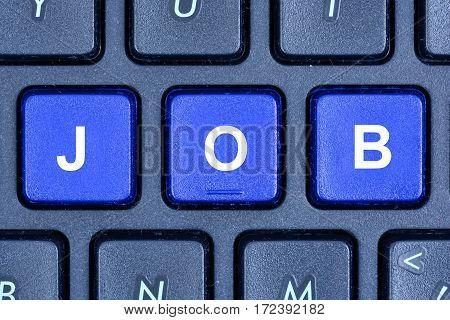 Job word on computer keyboard buttons closeup