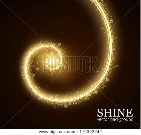 Shining spiral shaped frame with particles trail vector background. EPS10