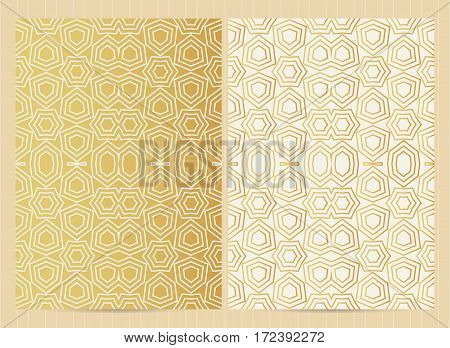 A4 Size Cards In Golden Color. Vector Luxury Templates For Restaurant Menu, Flyer, Greeting Card, Br