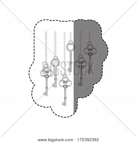 grayscale sticker pattern with vintage keys hanging on chains vector illustration
