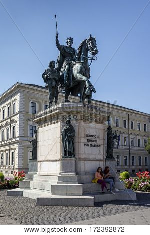 MUNICH, GERMANY - AUGUST 02, 2015: The monument Reiterdenkmal of King Ludwig I of Bavaria is located at the Odeosplatz in Munich