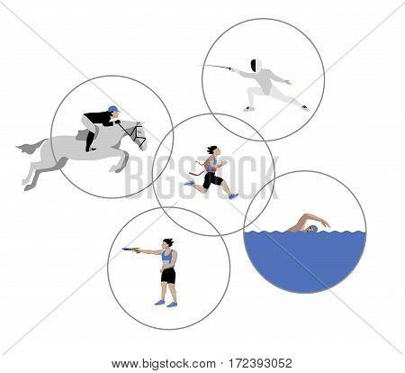 Vector Illustration of modern pentathlon athletes isolated on white background