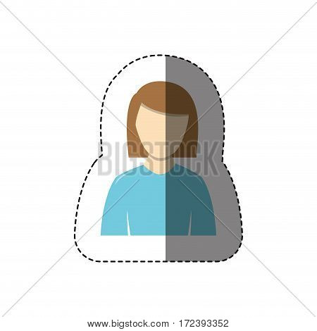 color sticker half body woman with shirt long sleeves and short hair without face vector illustration