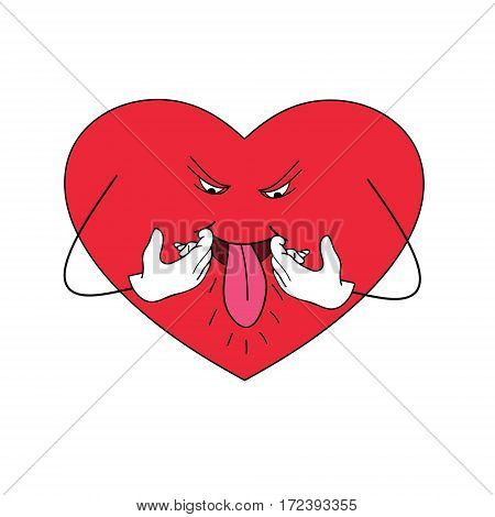 Heart showing tongue. Vector illustration with the image of the heart which teases