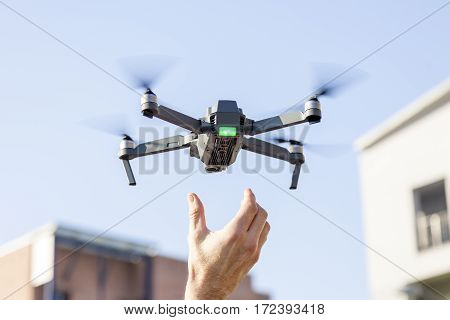 Black Drone Lands In The Hands Of Technician