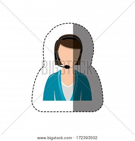 color sticker with half body of female customer service without face vector illustration