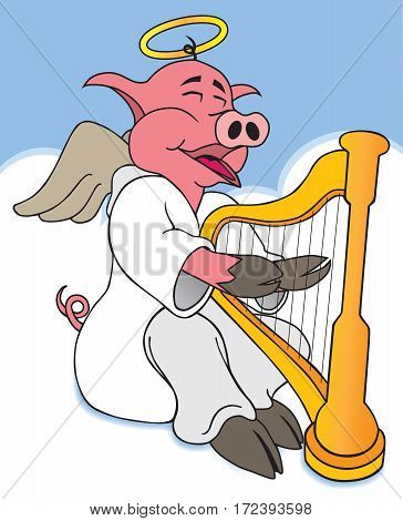 A hog in heaven is happily playing his harp