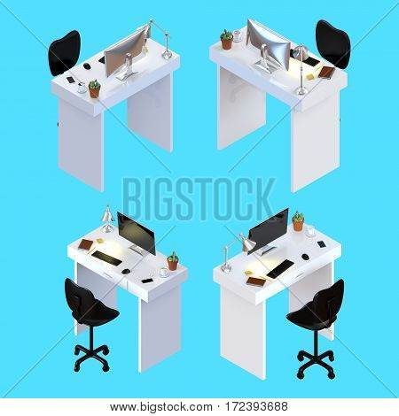 3D rendering of creative desk office workspace with a desktop monitor keyboard coffee cup and smartphone with earphones and clipping paths.